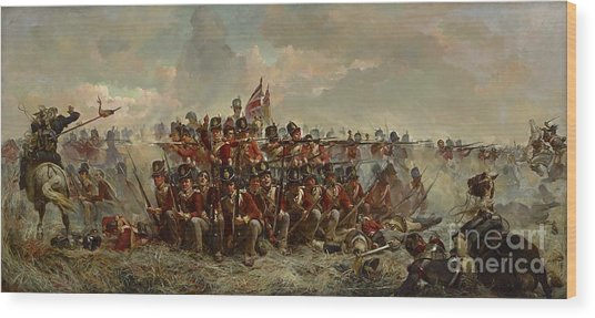 The 28th Regiment At Quatre Bras Wood Print