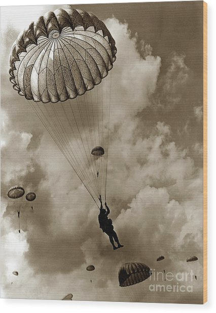 The 82nd Airborne  Hits The Silk Fort Ord 1953 Wood Print