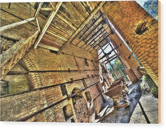 Wood Print featuring the photograph The Abandoned Furnace Quarry Building by Enrico Pelos
