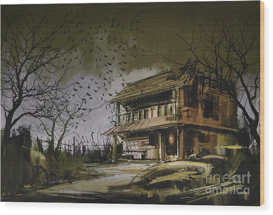Wood Print featuring the painting The Abandoned House by Tithi Luadthong