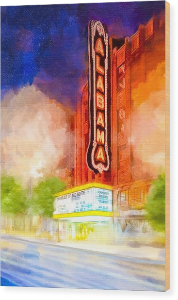 Wood Print featuring the mixed media The Alabama Theatre By Night by Mark E Tisdale