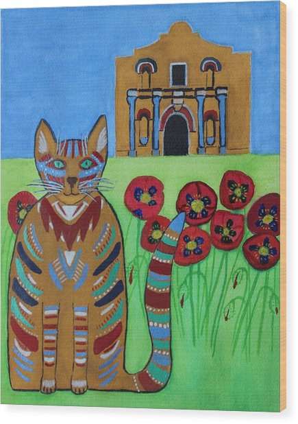 the Alamo Cat Wood Print