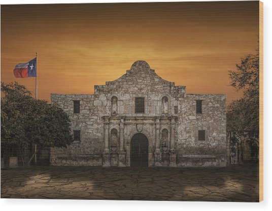 The Alamo Mission In San Antonio Wood Print