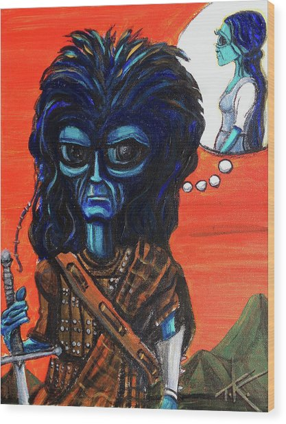 The Alien Braveheart Wood Print