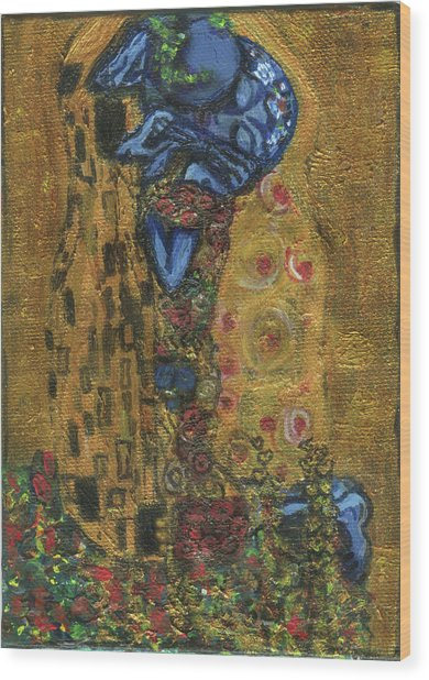 The Alien Kiss By Blastoff Klimt Wood Print