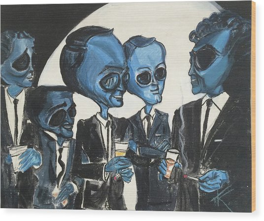 The Alien Rat Pack Wood Print