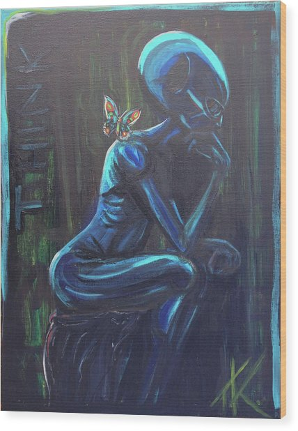 The Alien Thinker Wood Print