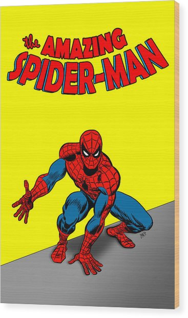 Wood Print featuring the painting The Amazing Spider-man by Antonio Romero