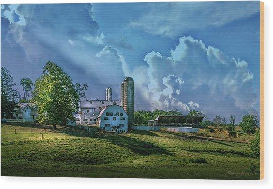 The Amish Farm Wood Print