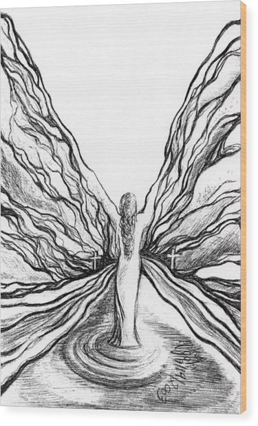 The Angel Within  Wood Print by Mikel Zuiderveen