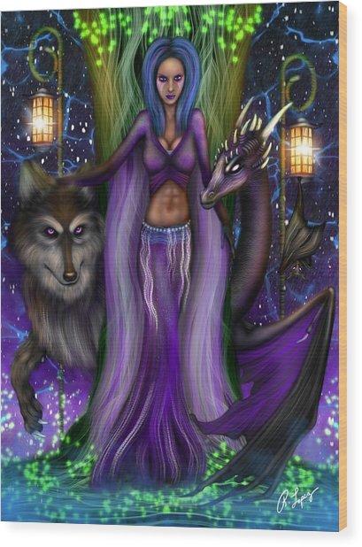 The Animal Goddess Fantasy Art Wood Print