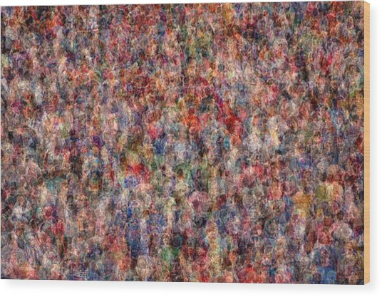 The Anonymous Croud Wood Print by Denis Bouchard