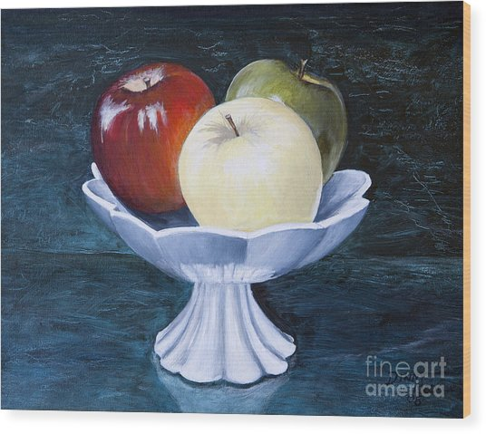 The Apple Dish Wood Print by Dinny Madill