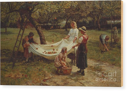 The Apple Gatherers Wood Print