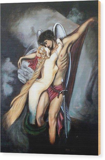 The Arcangel Micheal And  The Mermaid Wood Print