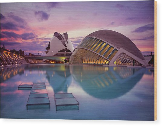 The Architecture Of Modern Valencia Spain  Wood Print by Carol Japp