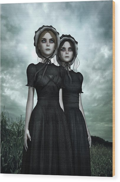 They Are Coming - The Halloween Twins Wood Print