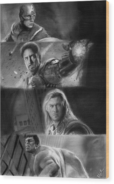 The Avengers Wood Print by Nat Morley