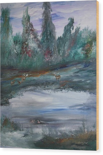 The Backwaters Pond Wood Print by Edward Wolverton