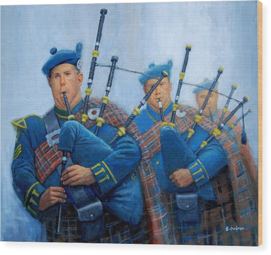 The Bagpipers Wood Print
