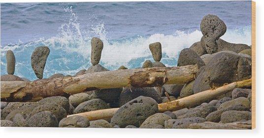 The Balancing Act Wood Print by Charlie Osborn