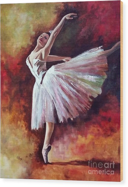 The Dancer Tilting - Adaptation Of Degas Artwork Wood Print