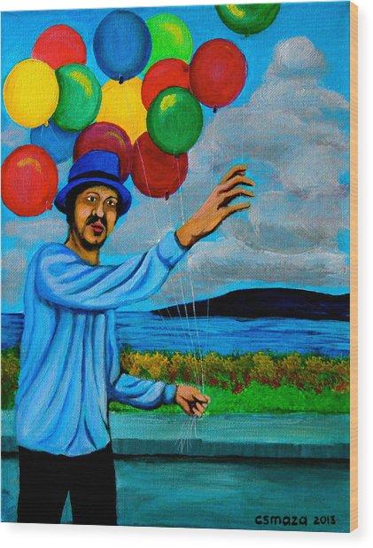 The Balloon Vendor Wood Print