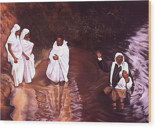 The Baptism Wood Print by Curtis James