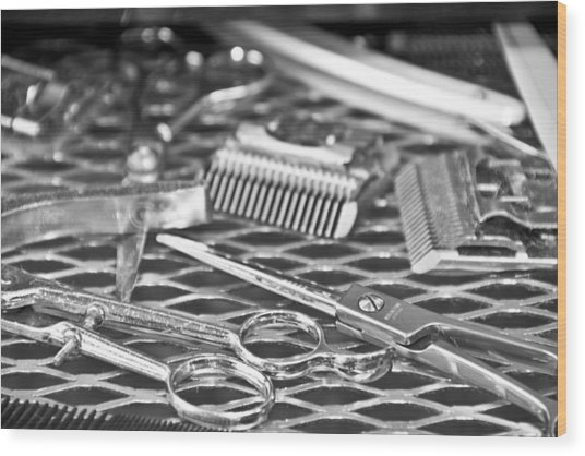 The Barber Shop 10 Bw Wood Print
