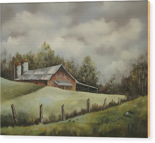 The Barn And The Sky Wood Print
