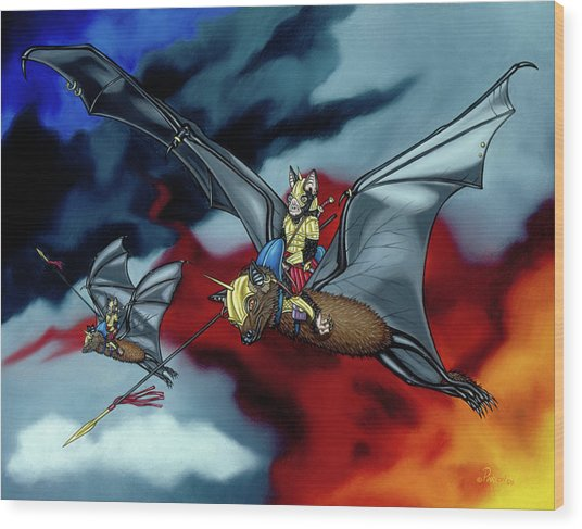 The Bat Riders Wood Print