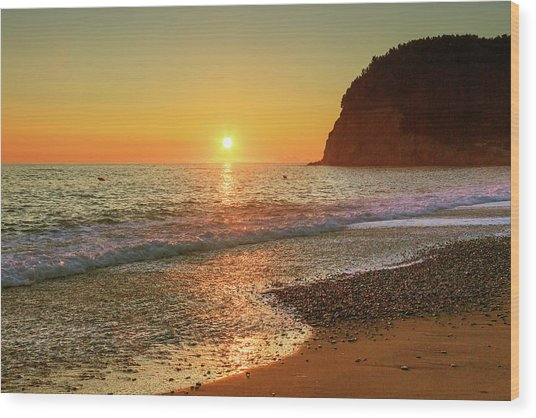 the beach and the Mediterranean sea in Montenegro in the summer at sunset Wood Print