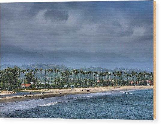 The Beach At Santa Barbara Wood Print