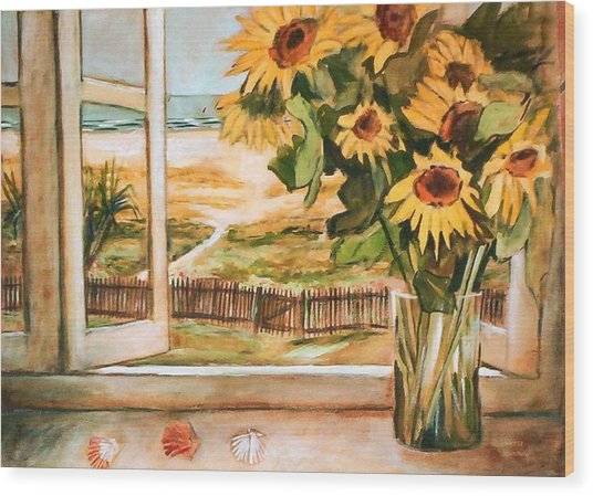 The Beach Sunflowers Wood Print