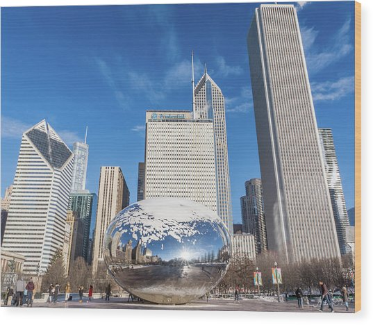 The Bean And The City Wood Print