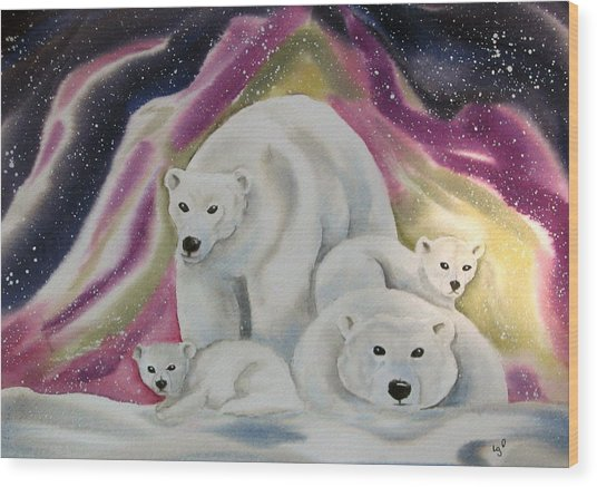 The Bear Family Wood Print by Amelie Gates