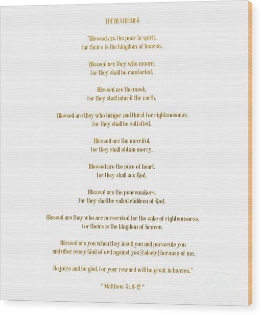 The Beatitudes Gospel Of Matthew Wood Print
