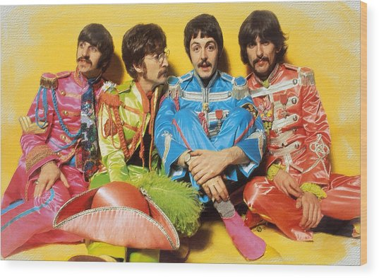 The Beatles Sgt. Pepper's Lonely Hearts Club Band Painting 1967 Color Wood Print