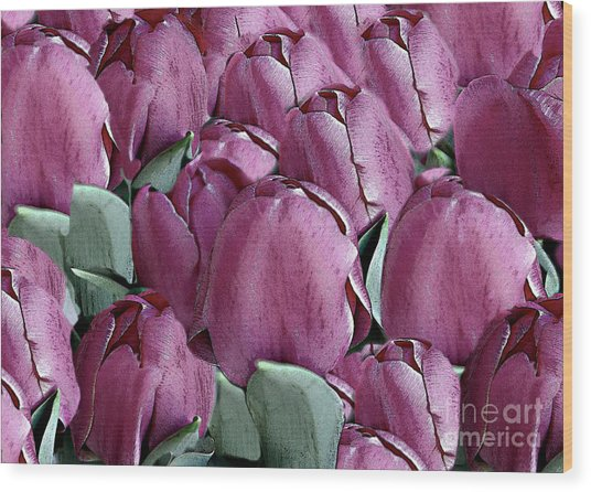 The Beauty And Depth Of A Bed Of Tulips Wood Print