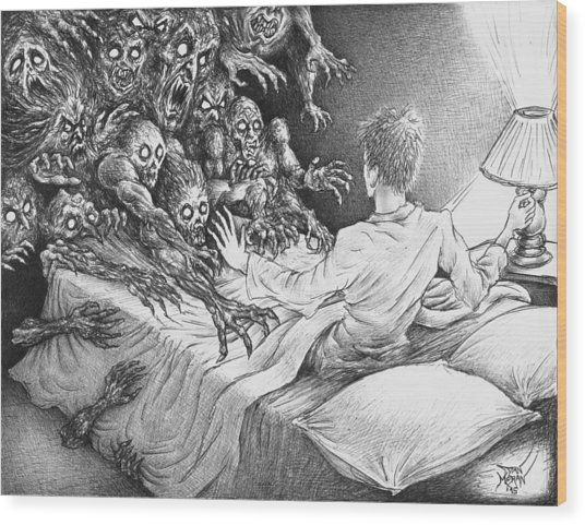 The Bedside Lamp Wood Print