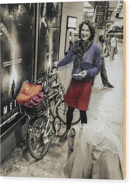 The Bicycle Girl Wood Print