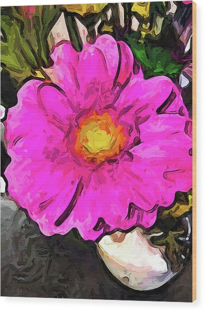 The Big Pink And Yellow Flower In The Little Vase Wood Print