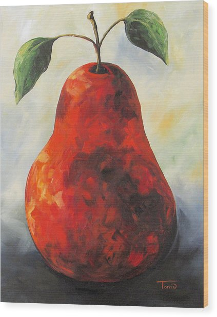 The Big Red Pear Wood Print by Torrie Smiley