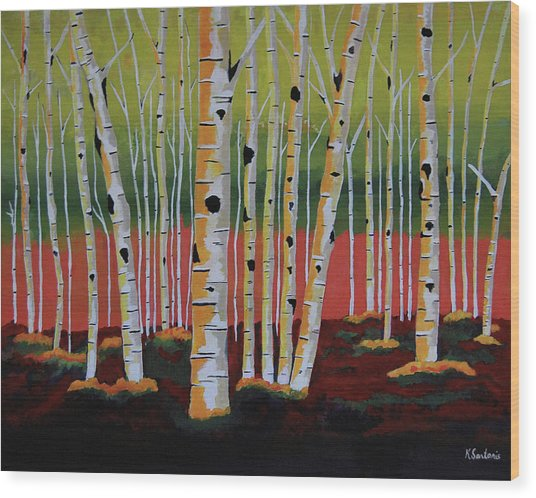 The Birch Forest - Landscape Painting Wood Print