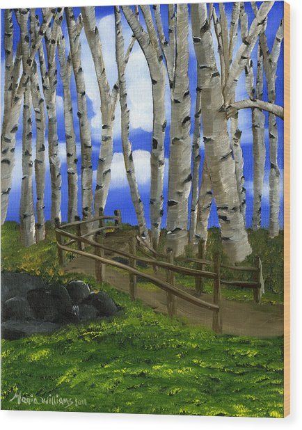 The Birch Tree Road Wood Print by Maria Williams
