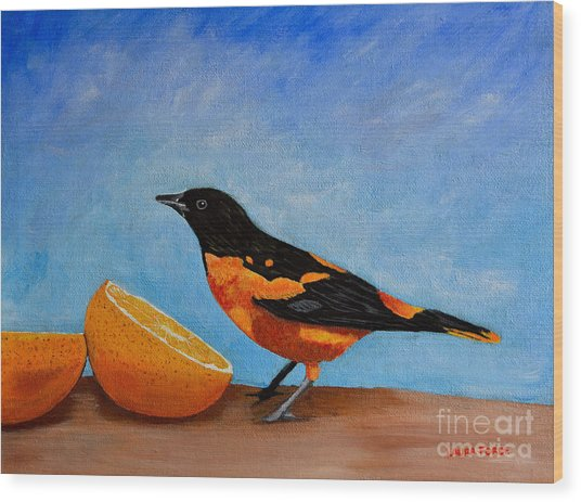 The Bird And Orange Wood Print
