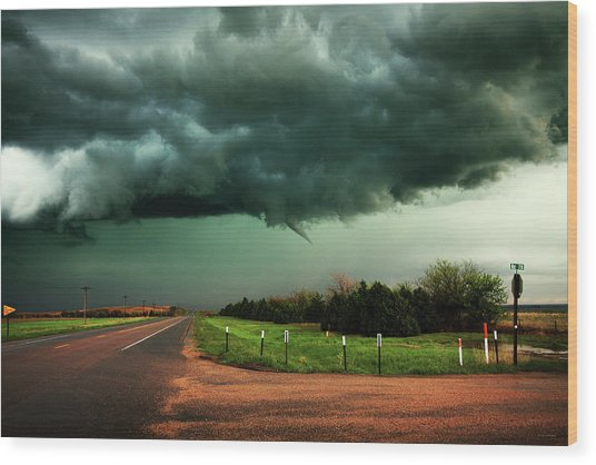 The Birth Of A Funnel Cloud Wood Print