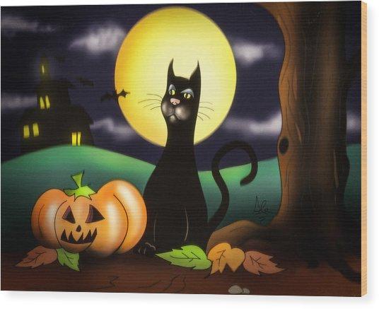 The Black Cat Wood Print