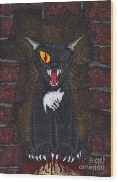 The Black Cat Edgar Allan Poe Wood Print