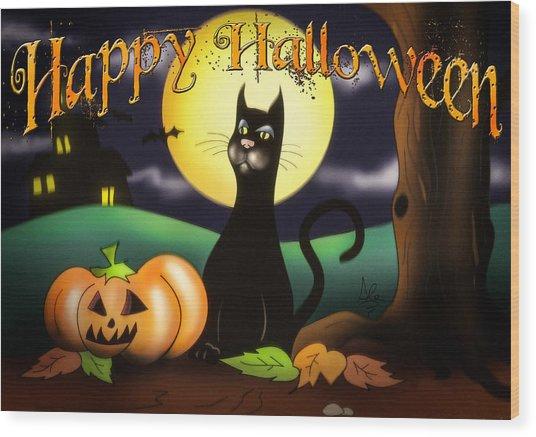The Black Cat Greeting Card Wood Print